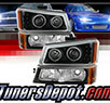 TD® LED Halo Projector Headlights + Bumper Lights Set (Black) - 02-06 Chevy Avalanche (Exc. Body Cladding)