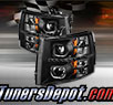 TD® DRL LED Halo Projector Headlights (Black) - 07-13 Chevy Silverado