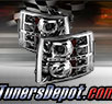 TD® DRL LED Halo Projector Headlights (Chrome) - 07-13 Chevy Silverado