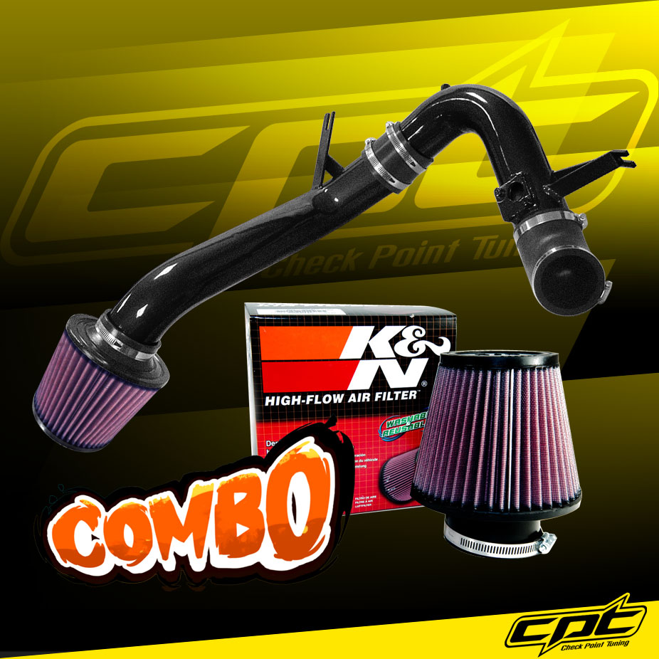 For 09-14 Acura TSX 2.4L 4cyl Black Cold Air Intake + K&N