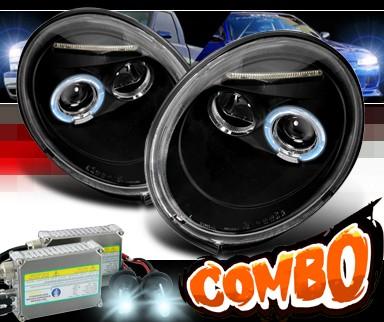 volkswagen beetle hid xenon spec  halo projector headlights black vw lhp beejm tm