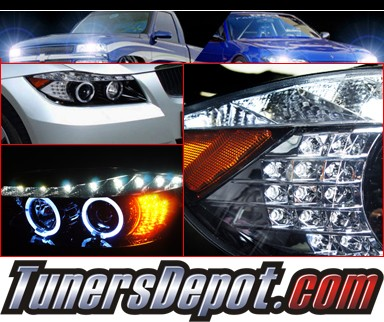 SPEC-D® DRL LED Projector Headlights (Glossy Black) - 06-08 BMW 328i 4dr E90/E91 (Version 2)