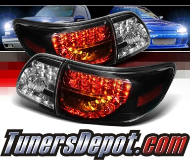 Sonar® LED Tail Lights (Black) - 09-10 Toyota Corolla (w/ LED Signal)
