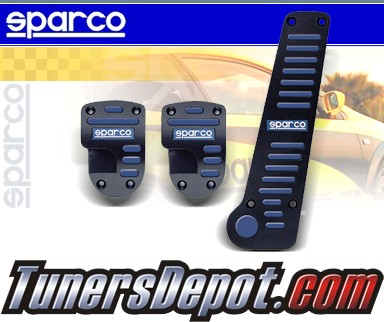 Auto Racing Blue Sport Pedals on Sparco   Mt Pedal Set   Stripe W    Tall Gas Pedal  Black   Blue