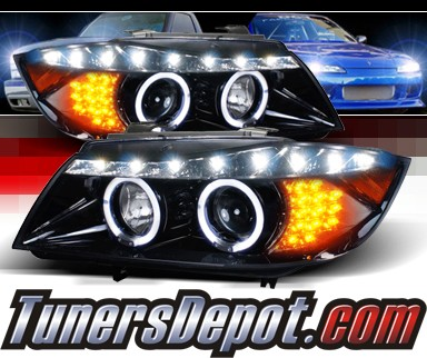 TM® DRL LED Projector Headlights (Glossy Black) - 06-08 BMW 328i 4dr E90⁄E91 (Version 2)